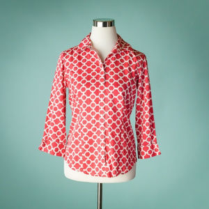 Brooks Brothers 4 Pink White Geometric Print Top